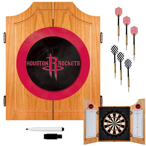 Trademark Commerce NBA7000-HR Houston Rockets NBA Wood Dart Cabinet Set - Peazz.com