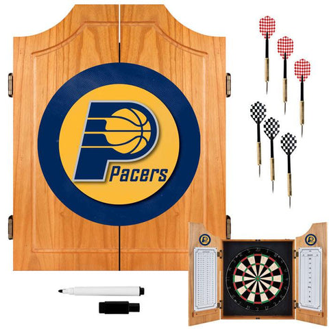 Trademark Commerce NBA7000-IP Indiana Pacers NBA Wood Dart Cabinet Set - Peazz.com