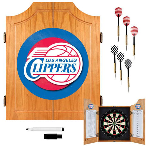 Trademark Commerce NBA7000-LAC Los Angeles Clippers NBA Wood Dart Cabinet Set - Peazz.com