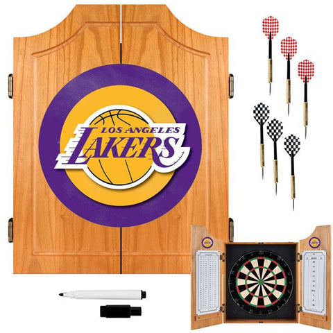 Trademark Commerce NBA7000-LAL Los Angeles Lakers NBA Wood Dart Cabinet Set - Peazz.com