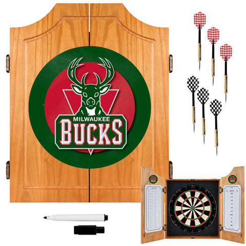 Trademark Commerce NBA7000-MB Milwaukee Bucks NBA Wood Dart Cabinet Set - Peazz.com