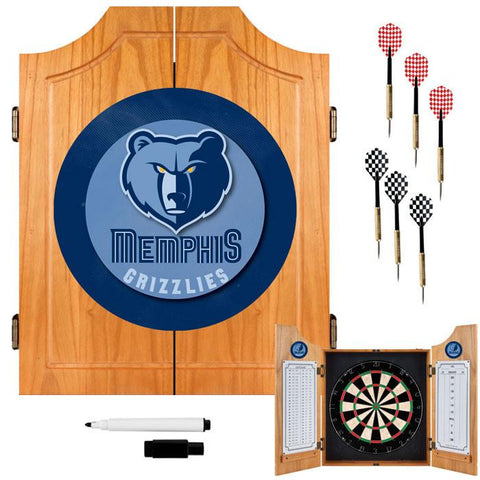 Trademark Commerce NBA7000-MG Memphis Grizzlies NBA Wood Dart Cabinet Set - Peazz.com