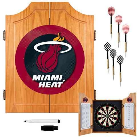 Trademark Commerce NBA7000-MH Miami Heat NBA Wood Dart Cabinet Set - Peazz.com