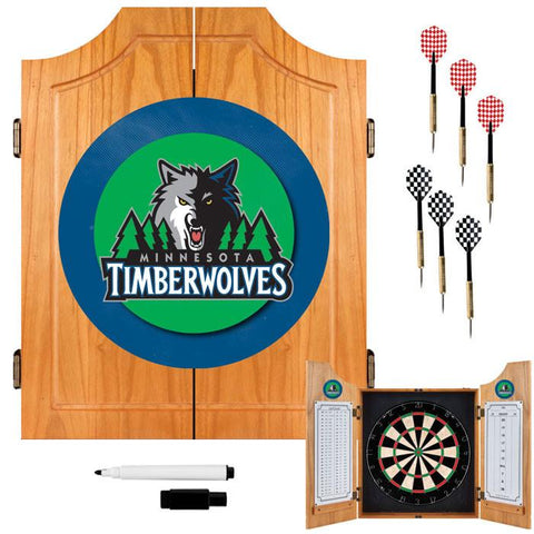 Trademark Commerce NBA7000-MT Minnesota Timberwolves NBA Wood Dart Cabinet Set - Peazz.com