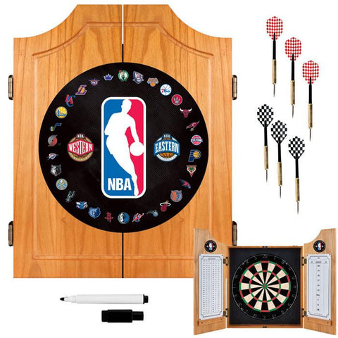 Trademark Commerce NBA7000-NBA NBA Logo with All Teams Beveled Wood Dart Cabinet Set - Peazz.com