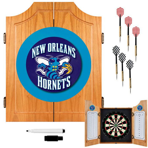 Trademark Commerce NBA7000-NOH New Orleans Hornets NBA Wood Dart Cabinet Set - Peazz.com