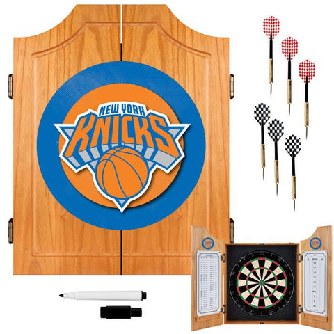 Trademark Commerce NBA7000-NY New York Knicks NBA Wood Dart Cabinet Set - Peazz.com