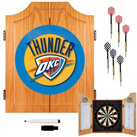Trademark Commerce NBA7000-OCT Oklahoma City Thunder NBA Wood Dart Cabinet Set - Peazz.com