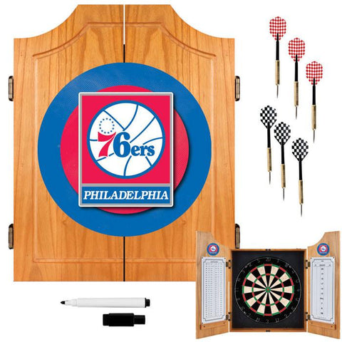 Trademark Commerce NBA7000-PH Philadelphia 76ers NBA Wood Dart Cabinet Set - Peazz.com