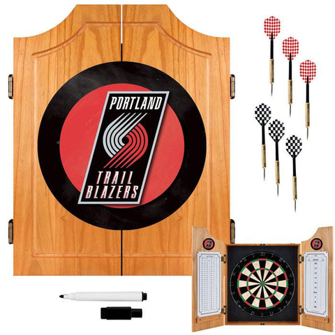 Trademark Commerce NBA7000-PTB Portland Trail Blazers NBA Wood Dart Cabinet Set - Peazz.com
