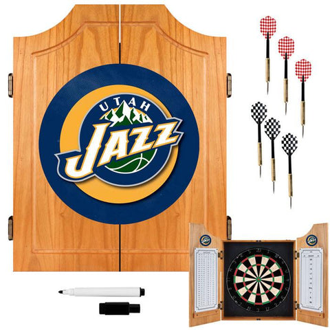 Trademark Commerce NBA7000-UJ Utah Jazz NBA Wood Dart Cabinet Set - Peazz.com