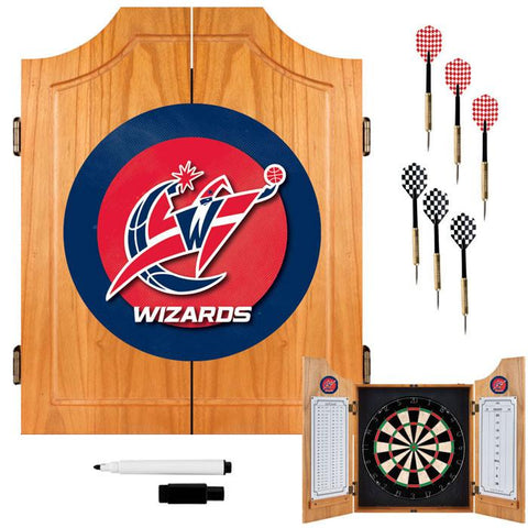 Trademark Commerce NBA7000-WW Washington Wizards Beveled Wood Dart Cabinet - Peazz.com