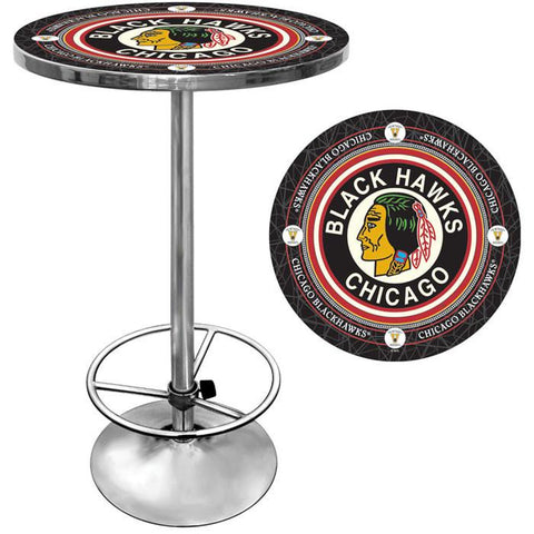 Trademark Commerce NHL2000-CBHV NHL Vintage Chicago Blackhawks Pub Table - Peazz.com
