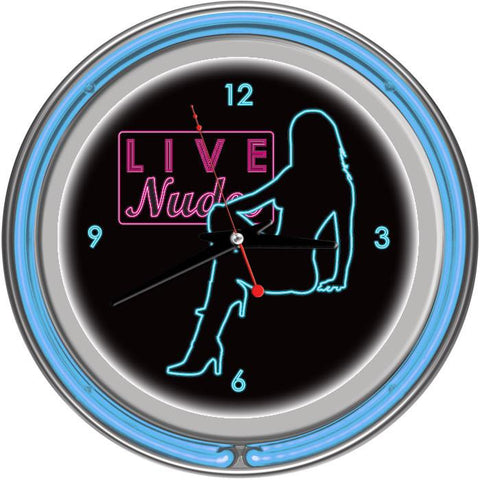 Trademark Commerce SB-D-1400-BLU Shadow Babes - D Series - Clock w/ Two Neon Rings - Blue - Peazz.com