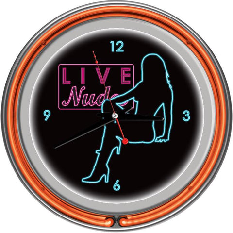 Trademark Commerce SB-D-1400-ORG Shadow Babes - D Series - Clock w/ Two Neon Rings - Orange - Peazz.com