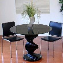 TransDeco Black Glass Dinning Table - Tempered Glass Top With Piano Black Finish, Black Glass Spiral Base With Ajustable Feet - Peazz.com