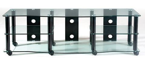 "TransDeco TD108CB 65"" Clear Glass TV Stand With High Gloss Black Finish Metal Poles - Peazz.com"