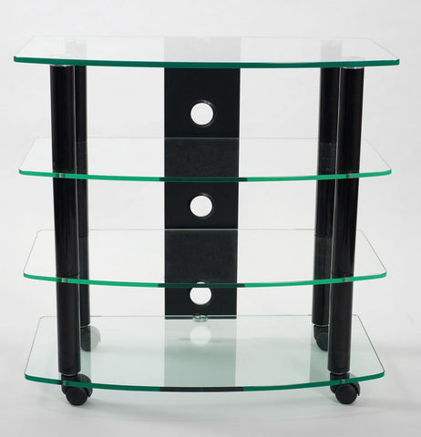 TransDeco TD110B Clear Glass TV Stand With High Gloss Black Finish Poles - Peazz.com