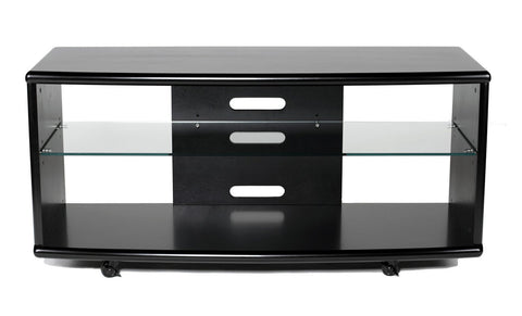 "TransDeco TD820B 52"" Birch Veneer Engineer Wood LCD TV Stand W/ Wheels For Up To 55"" Plasma Or LCD/LED TVs - Black - Peazz.com"