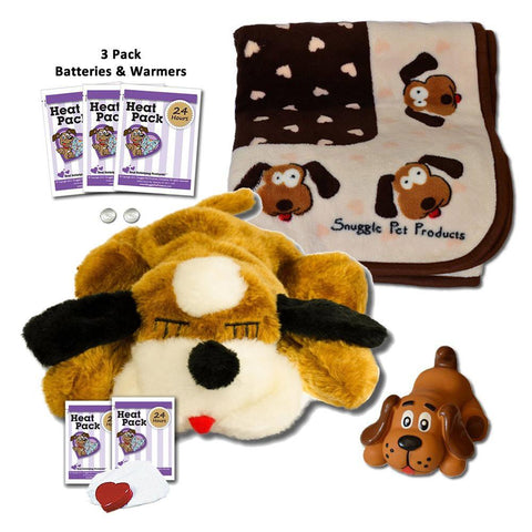 SnugglePuppie Brown and White Puppy Starter Kit - Peazz.com
