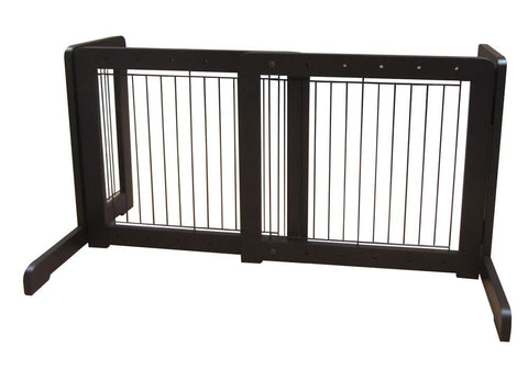 "Free Standing Pet Gate - 23.6""-39.4""L x 20.1""H x 21.6""D - Dark Walnut (MK81721-WA) - Peazz.com"