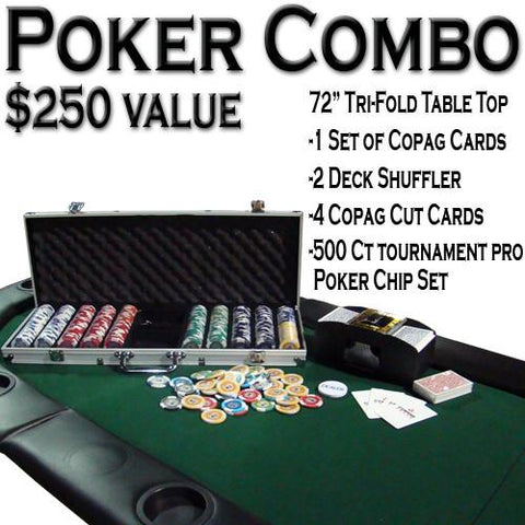 "Brybelly ACP-0048 Texas Hold 'Em Poker Combo Pack w/ 72"" Tri-Fold Table Top - Peazz.com"