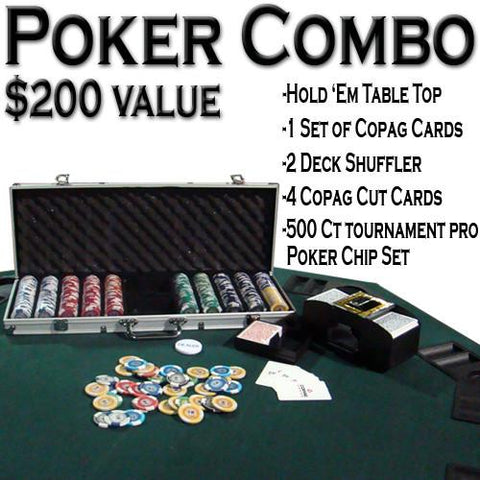Brybelly ACP-0049 Texas Hold 'Em Poker Combo Pack w/ Table Top - Peazz.com