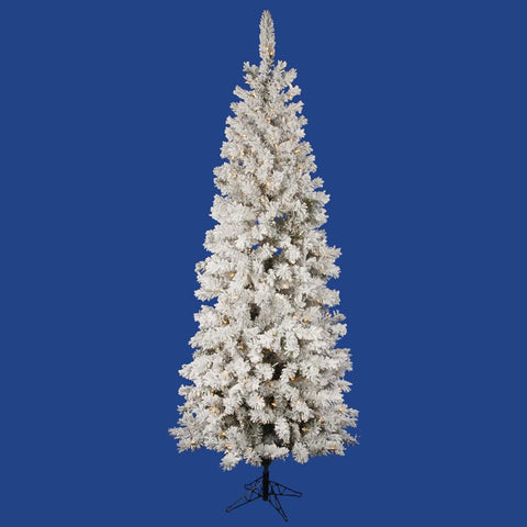 8.5' Vickerman A100381LED Flocked Pacific Pine - Flocked White on Green Christmas Tree - Peazz.com