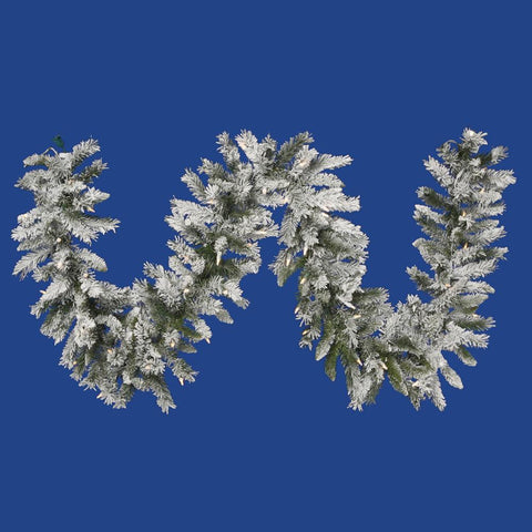 1' Vickerman A100412 Flocked Sugar Pine - Flocked White on Green - Peazz.com