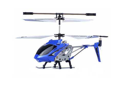 3ch Syma S107G Mini RC Helicopter Metal Series with Gyro - Blue - Peazz.com