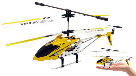 3ch Syma S107G Mini RC Helicopter Metal Series with Gyro - Yellow - Peazz.com