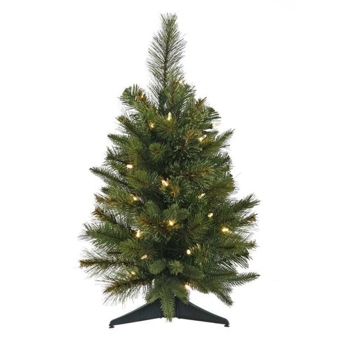 "Vickerman A118225 24"" Cashmere Pine Tree with 76 Tips, UL 50 Dura-Lit Clear Lights, In Green Plastic Pot, Dia: 21"" - Peazz.com"