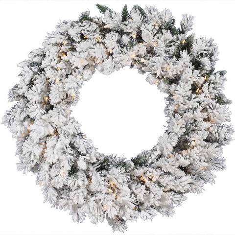 "Vickerman A128231 30"" Flkd Snow Ridge Wreath Dura-Lit 50CL - Peazz.com"