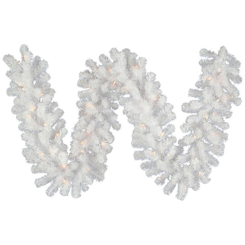 1' Vickerman A805813 Crystal White Garlands & Wreaths - Crystal White - Peazz.com