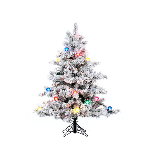 4.5' Vickerman A806348 Flocked Alaskan - Flocked White on Green Christmas Tree - Peazz.com