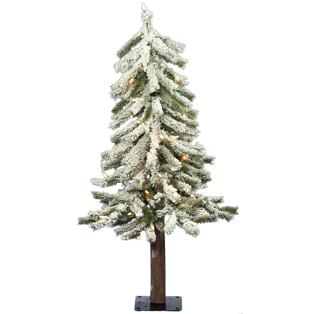 2 Vickerman A807421 Flocked Alpine Flocked White on Green Christmas Tree