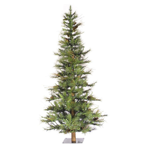 6' Vickerman A807560 Ashland Fir Wood Trunk Tree with Tips An - Green Christmas Tree - Peazz.com