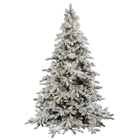 4.5' Vickerman A895146LED Flocked Utica Fir - Flocked White on Green Christmas Tree - Peazz.com
