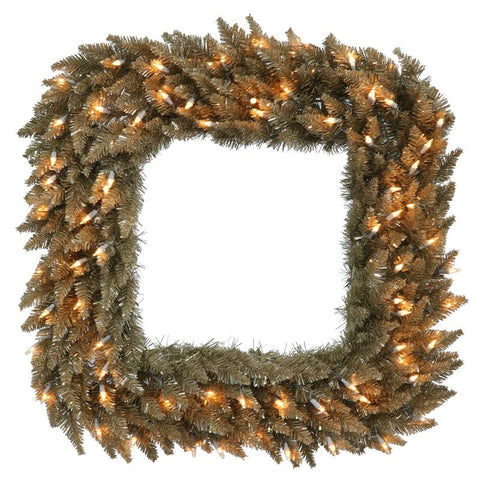"Vickerman K136484 30"" Antique Champagne Fir Sq Wreath 70CL - Peazz.com"