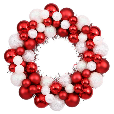 "Vickerman N114201 12"" Candy Cane Ball Wreath - Peazz.com"