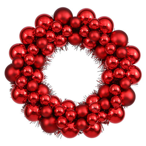"Vickerman N114203 12"" Red Colored Ball Wreath - Peazz.com"