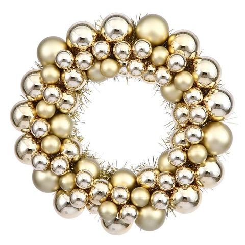 "Vickerman N114208 12"" Gold Colored Ball Wreath - Peazz.com"