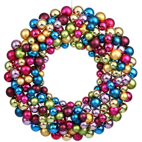 2' Vickerman N114400 Colored Ball Wreath - Multicolor - Peazz.com