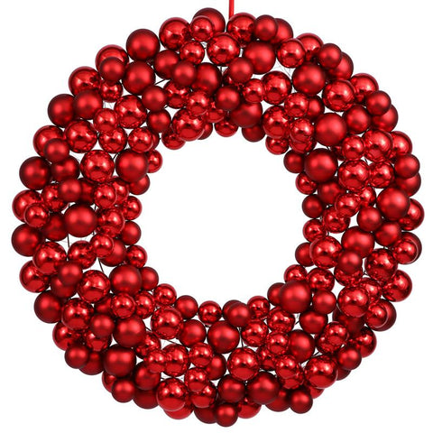 "Vickerman N114603 36"" Red Colored Ball Wreath - Peazz.com"