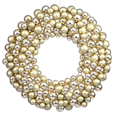 "Vickerman N114608 36"" Gold Colored Ball Wreath - Peazz.com"