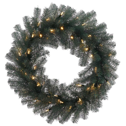 "Vickerman N131825 24"" Blue Crystal Wreath 50CL Dura-Lit - Peazz.com"