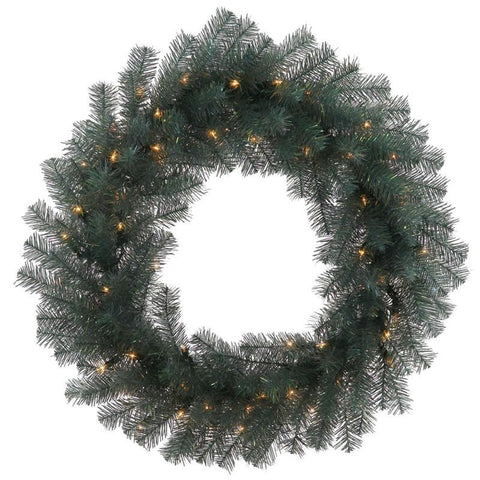 "Vickerman N131831LED 30"" Blue Crystal Pine Wreath 70LED WmWht - Peazz.com"