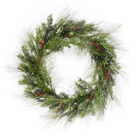 "Vickerman S112330 30"" Kunesh Berry Mix Pine Wreath - Peazz.com"
