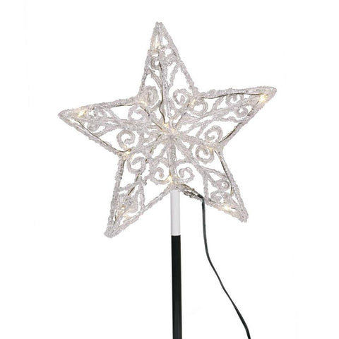 "Vickerman X126719 12 Light x 9"" Iced LED Star Tree Top - Peazz.com"