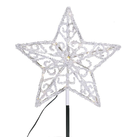 "Vickerman X126722 18 Light x 12"" Iced LED Star Tree Top - Peazz.com"
